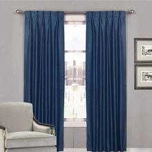 Villa Shantung Faux Silk Pinch Pleat Curtains Navy Blue