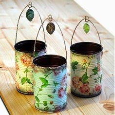 Decoupage napkins onto tin cans and spray with sealant. Punch holes in sides to add a wire hanger. Decoupage napkins onto tin ca Tin Can Crafts, Fun Crafts, Diy And Crafts, Arts And Crafts, Crafts With Tin Cans, Room Crafts, Mod Podge Crafts, Metal Crafts, Clay Crafts