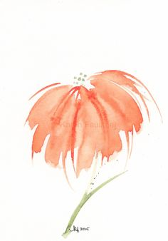 """Original watercolor flower painting of a fun, cheerful orange flower: """"A Pop of Orange"""" by karenfaulknerart on Etsy"""