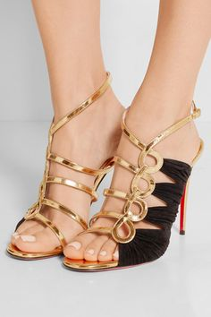 Christian Louboutin | Tina 100 metallic leather and suede sandals | NET-A-PORTER.COM