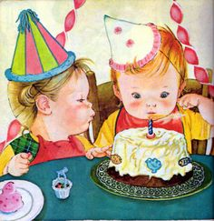 """Baby's Birthday, Eloise Wilkin, 1972- Cake from """"Baby's Birthday"""", Little Golden Book, 1972 Editionstory by Patricia Mowersillustrations by Eloise WilkinBlowing out the candles"""