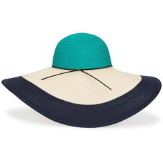 Womens Sun Hats EUGENIA KIM Sunny Colour-block Green Hemp Blend Hat ($430) ❤ liked on Polyvore featuring accessories, hats, sun blocking hats, green hat, hemp hat, beach hat and brim sun hat