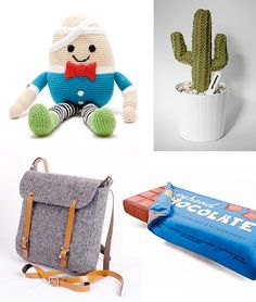 Just a few of my most recent wishlist additions… Fair Trade Hand Crocheted Humpty Dumpty, awwh Handmade knitted cactus – my type of plant…zero maintenance Scottish tweed grey effie bag – soon to be on the shoulder of mommymoo :) Chocolate bar duvet set – fun for little sleepy heads you might also like: Build-a-bot [&hellip