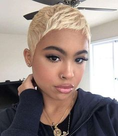 Cute short wigs for black women human hair wigs lace front wigs hairstyles Short Blonde Pixie, Short Pixie Haircuts, Pixie Hairstyles, Short Hair Cuts, Short Hair Styles, Natural Hair Styles, Black Hairstyles, Short Sew In Hairstyles, 1940s Hairstyles