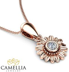 Etsy Sunflower Diamond Pendant 14K Rose Gold Bridal Jewelry Nature Inspired Necklace Anniversary Gift #ad