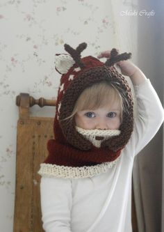 KNITTING PATTERN hooded cowl deer fawn Bämbi with antlers (baby, toddler, child, adult sizes) This is a knitting pattern for fawn hood Bämbi with antlers and inner cowl. This will make a wonderful gift. Knitting For Kids, Baby Knitting Patterns, Knitting Stitches, Knitting Projects, Crochet Projects, Crochet Patterns, Crochet Baby, Knit Crochet, Hooded Cowl