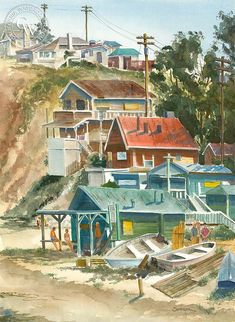 Crystal Cove Around watercolor art by Steve Santmyer – California Watercolor Art Watercolor, Watercolor Landscape, Art Prints For Sale, Fine Art Prints, Oceanside Pier, California Art, Coastal Art, Laguna Beach, Artwork Prints