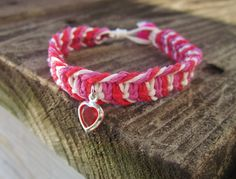 Hemp Bracelet Heart Charm Macrame Jewelry Fishbone by JackZenHemp, $13.00