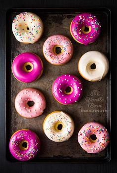 Stacey shares 12 baked donut recipes that she wants to try since she's never made baked donuts before. She talks about free donuts for National Donut Day. Yummy Treats, Sweet Treats, Yummy Food, Just Desserts, Dessert Recipes, Delicious Desserts, National Donut Day, Baked Donuts, Yummy Donuts
