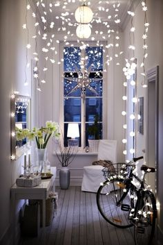 Can drape lights across ceiling to create canopy and strands handing down sides