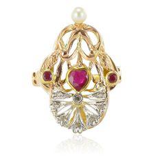 Pearl Honest Platine Argent Sterling Diamant Ensemble Multicolore Saphir Unique Fleur Broche