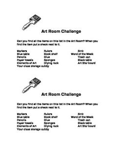 This is a great first day in the art room activity. Students are given a list of items and they must find those in the room. This keeps kids up and active the first day, I then go over as a class where the items are and what the rules for each are. Middle School Rules, 1st Day Of School, Beginning Of School, Art School, Classroom Tools, Classroom Rules, Classroom Resources, Classroom Organization, Classroom Management