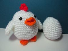 crocheted chicken and egg