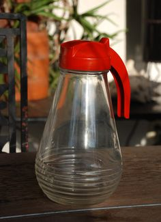 Vintage Syrup Dispenser Glass Juice Pitcher Retro by FabsAndFaves, $18.00