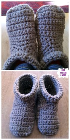 New Cost-Free Crochet slippers boots Style Cozy Crocheted Slipper Boots Free Crochet Pattern – Video Easy Crochet Slippers, Crochet Slipper Boots, Crochet Socks, Knit Or Crochet, Chunky Crochet, Chrochet, Crochet Boots Pattern, Free Crochet Slipper Patterns, Free Crochet Patterns For Beginners