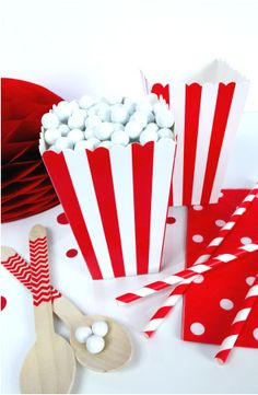 Boîtes Popcorn ou Bonbons en Carton à Rayures