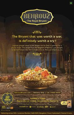 View Behrouz The Royal Biryani Delivering across 500 locations Ad in Times of India Hyderabad newspaper. Graphic Design Flyer, Food Poster Design, Typography Poster Design, Ad Design, Restaurant Menu Card, Restaurant Advertising, Food Advertising, Indian Food Menu, Indian Food Recipes