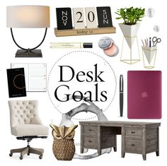 """""""Desk Goals: Pretty Workspaces"""" by colierollers ❤ liked on Polyvore featuring interior, interiors, interior design, home, home decor, interior decorating, Umbra, Pottery Barn, Incase and AT-A-GLANCE"""