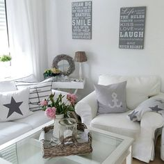 Try Your Best, Natural Interior, Shabby Chic Living Room, Scandinavian Style, Sweet Home, The Hamptons, Life Is Good, Throw Pillows, Bed