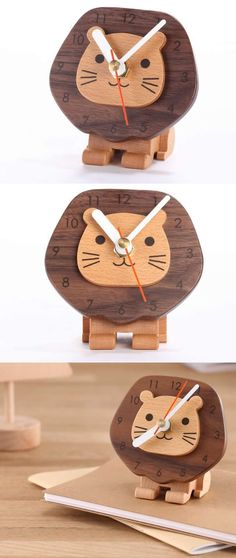 Wooden Lion Desk Clock Art Deco style.,Wood Lion Desk clock Made from Wooden and Metal