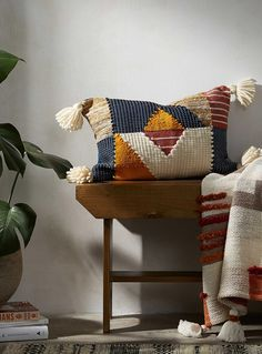This cushion features a fascinating mix of textures and materials with the perfect combination of a boho patchwork design and modern geometric shapes. A warm decorative accent that will add depth to your creative space this fall! Patchwork Cushion, Patchwork Designs, Home Decor Trends, Duvet Cover Sets, Basket Weaving, Pillow Shams, Geometric Shapes, Accent Decor, Decorative Pillows