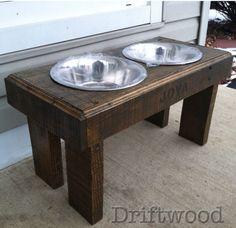Rustic Elevated Dog Bowl Feeding Station Pallet Pet Furniture | eBay