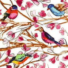"""Michael Miller Fabric 'Wing Song'  by Michael Miller  Collection """"Garden Wall"""" by Laura Gunn  Import from USA    white cotton fabric with many bi..."""