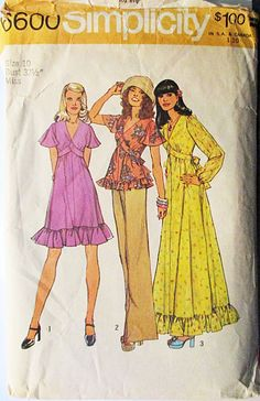 1970s Sewing Pattern Simplicity 6600 Misses Dress or Top Pattern Size 10 Bust 32 1/2 by SewYesterdayPatterns on Etsy