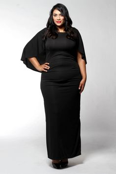 Cape Long Jersey Dress (Also available in plus sizes) | Melissa Masse