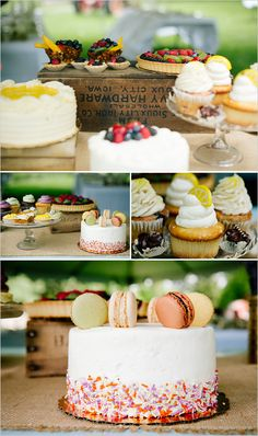 An assortment of wedding treats and desserts. Captured By: Emily Elizabeth Photo http://www.weddingchicks.com/2014/05/30/wild-and-free-bohemian-wedding/