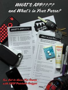 Whats App and Whats in Your Purse Get to Know you Party games and ice breakers. Good for Young Men and Young Women, RS parties. Kids Party Games, Birthday Party Games, Ice Breakers For Women, Relay Games, Ice Breaker Games, Relief Society Activities, Lisa, Whats In Your Purse, Adult Games