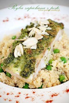 Ryba zapiekana z pietruszkowym pesto / Baked fish with parsley pesto (recipe in Polish)