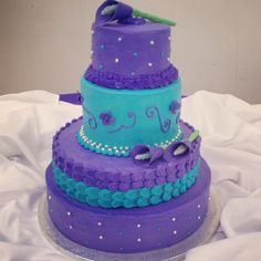 Purple and Turquoise Wedding cake www.cakescupsnbuttercream.com
