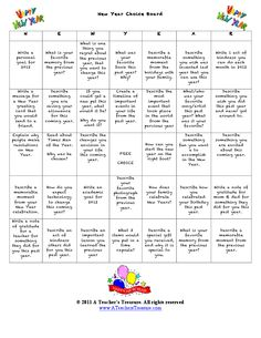 New Year Choice Board- choose your own writing prompts freebie Writing Resources, Writing Prompts, Writing Ideas, Writing Topics, Writing Classes, English Resources, Writing Activities, New Years Activities, Classroom Activities