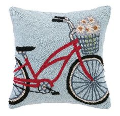 Red Beach Bike Wool Hooked Pillow with a basket full of daisies! #beachbike #beachpillow