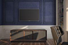 Декор интерьера спальной комнаты для молодого человека. Стены оформлены на контрасте двух цветов: глубокого синего цвета и белоснежного. Стены декорированы молдингами под покраску. Комната светлая, солнечная, меблирована корпусной мебелью с закрытыми фасадами.