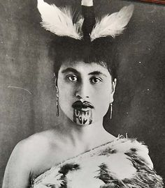 Maori Woman , with Chin Moko