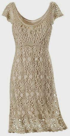 Irish crochet &: Платье  ажурными мотивами