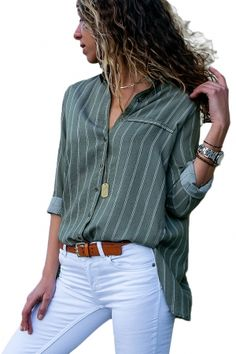 383813c9619 Olive Green Striped Button Detail Shirt for Women. Chiffon BlousesWomen s  ...