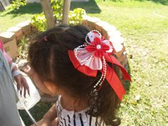 Girls RED Bow organza pearls and satin ribbon 012 by CecysChildren