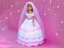 Dolls: Fantastic princess dress pattern by Knitwork by Ina Barbie Dress, Barbie Clothes, Barbie Doll, Princess Dress Patterns, Beautiful Dolls, Free Crochet, Hat Patterns, Marie, Gowns