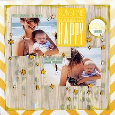 Sunshine on my Shoulders - Scrapbook.com - Made with the Scrapbook.com kit club June kit Nautical Days.
