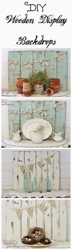 Create your own salvaged wood mantle backdrops! See all 6 different vignettes created with them!