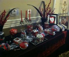 Black & Red candy buffet Red Candy Buffet, Buffets, Dessert Table, Red Black, Gift Wrapping, Party Ideas, Events, Weddings, Gifts