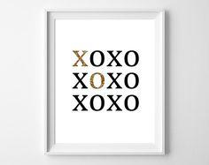 XOXO Print Black and Gold Sparkle Typography by bonmotprints, $12.00