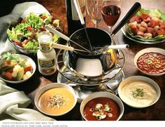 meat fondue (with the wonderful side sauces)!
