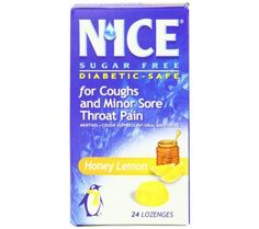 N'ICE Sugar Free Cough Suppressant/Oral Anesthetic Drops - 24 ea   Cooling relief for coughs and minor sore throat pain. 10 Calories per lozenge. Nice Lozenges Sugar Free Cough Suppressant or Oral Anesthetic Honey Lemon Drops relief for coughs and Minor sore throat Pain. Coughs due to minor throat and bronchial irritation from a cold or inhaled irritants. It may be repeated every 2 hours for sore throat.
