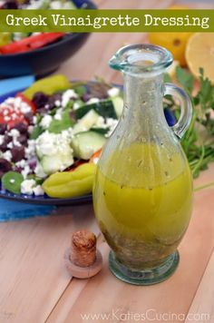 Greek Vinaigrette Dressing: 1/4 cup lemon juice, 1/4 cup olive oil, 1 tsp dried oregano, 1 tbsp lemon zest, 1 clove garlic, pressed, 1 tbsp fresh dill, chopped, 1 tbsp fresh parsley, chopped, 1 tsp all-purpose Greek Seasoning, 1 tsp dijon mustard