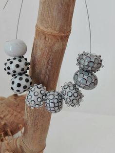 Handmade Lampwork Beads Hollow Set by GhirigoriGlass. for necklace or bracelet on shades gray and black. by GhirigoriGlass on Etsy https://www.etsy.com/listing/484608553/handmade-lampwork-beads-hollow-set-by