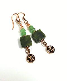 Yin Yang Jade Earrings Copper Earrings Beaded by GemstonesOnMyMind